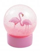 Boule à neige flamant rose 13 cm