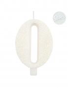 Bougie anniversaire chiffre blanche pailletée 9,5 cm