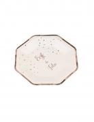 8 Assiettes en carton EVJF de folie rose gold 23 cm