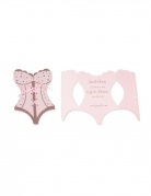 8 Invitations bustier EVJF rose gold et paillettes 11,5 x 18 cm