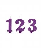 Bougie anniversaire chiffre violette pailletée 9,5 cm