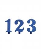 Bougie anniversaire chiffre bleue pailletée 9,5 cm