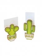 2 Pinces marque place en bois cactus 6 x 3 x 1,5 cm