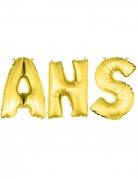 Ballons aluminium lettres ANS dorés 36 cm