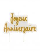 Bougie sur pique joyeux anniversaire dorée pailletée 8 x 5 cm