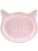 6 Assiettes en carton tête de chaton roses 22 x 20 cm
