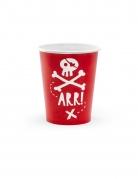 6 Gobelets en carton fête de pirate rouges 220 ml