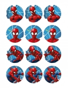 12 Décorations en azyme pour biscuits Spiderman™ 5,8 cm