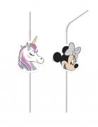 6 Pailles médaillon en plastique Minnie et la licorne™