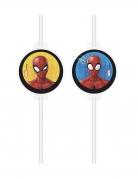 4 Pailles médaillon en carton Spiderman™