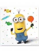 20 Serviettes en papier Minions ballons party™ 33 x 33cm