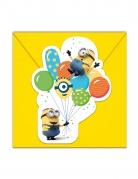 6 Cartons d'invitation avec enveloppes Minions ballons party™