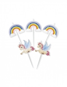 5 Bougies sur pics licornes et arc-en-ciel 8 cm