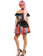 Déguisement multicolore Dia de los Muertos femme