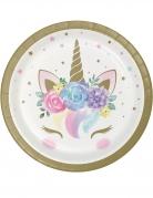 8 Petites assiettes en carton licorne féerique blanches 18 cm