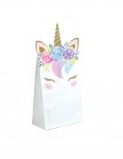 8 Sacs cadeaux en papier licorne féerique blancs 11,4 x 20 cm