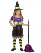 Déguisement sorcière noir jaune violette enfant