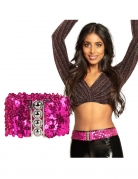 Ceinture à sequins fuschia adulte