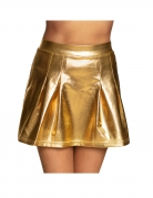Jupe patineuse métallisée dorée femme
