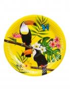 6 Assiettes en carton toucan jaunes 23 cm