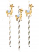 6 Pailles en carton lama blanches et dorées 20 cm