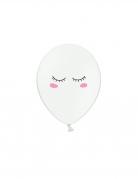 6 Ballons en latex smiley blancs 30 cm