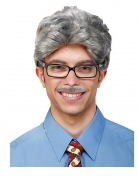 Perruque et moustache grise adulte