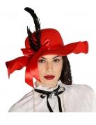 Chapeau rouge avec plumes femme