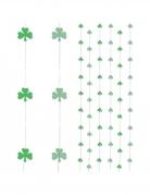 6 Décorations à suspendre rideau trèfles verts 180 cm
