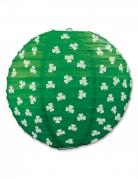 Lanterne en papier verte avec trèfles 24 cm