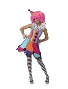 Déguisement robe arc-en-ciel clown femme