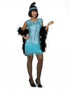 Deguisement charleston turquoise sequins femme