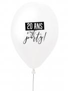 Ballon en latex 20 ans c'est party ! blanc et noir 27 cm