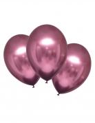 6 Ballons en latex roses satinés 28 cm