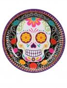6 Assiettes en carton squelette coloré 23 cm