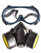 Kit lunettes et masque à gaz factice adulte