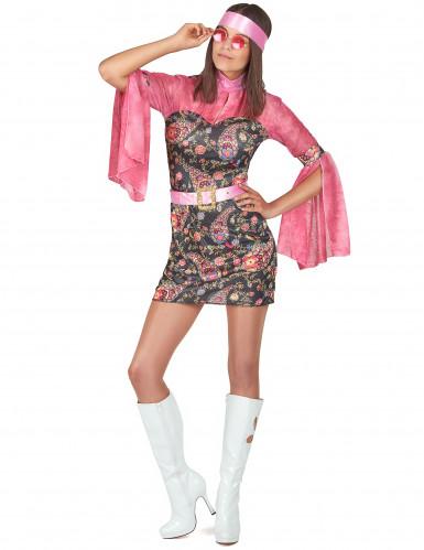 Déguisement hippie vieux rose femme