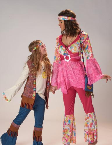 Déguisement hippie flower rose femme