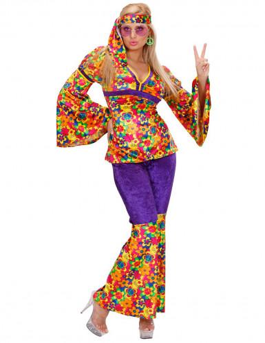 Déguisement hippie motif fleuris femme