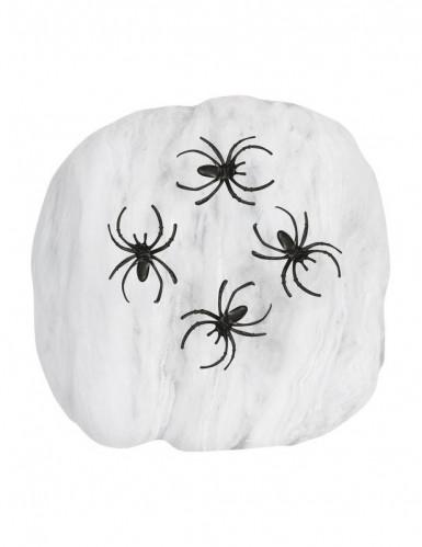 Toile d'araignée blanche avec araignées 50g Halloween
