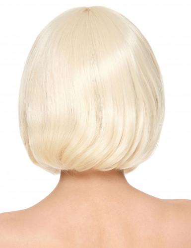 Perruque luxe blonde carré court avec frange femme