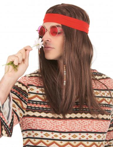Perruque pirate ou hippie avec bandana adulte