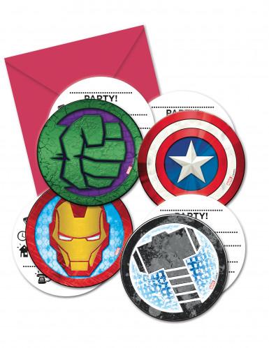 6 Invitations + enveloppes Avengers Mighty ™
