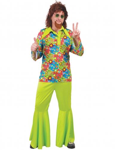 Déguisement hippie vert avec symboles colorés homme