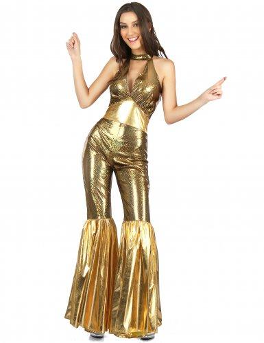 Déguisement disco doré à pattes d'eph femme