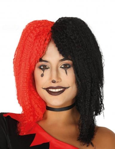 Perruque arlequin rouge et noire gauffrée femme
