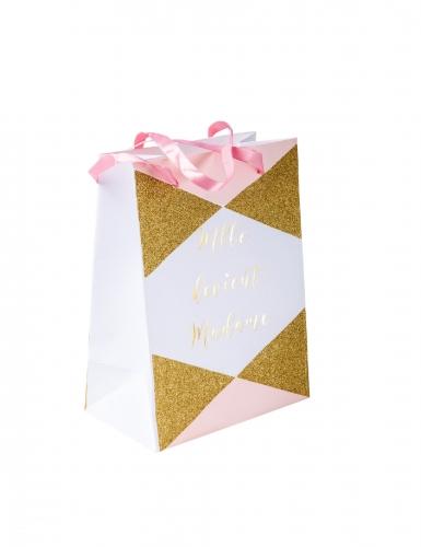 4 Sacs en carton Mlle devient madame rose et doré 15 x 20 cm