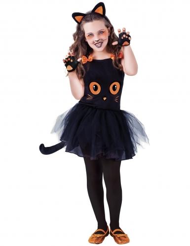 Déguisement petit chat noir avec accessoires fille