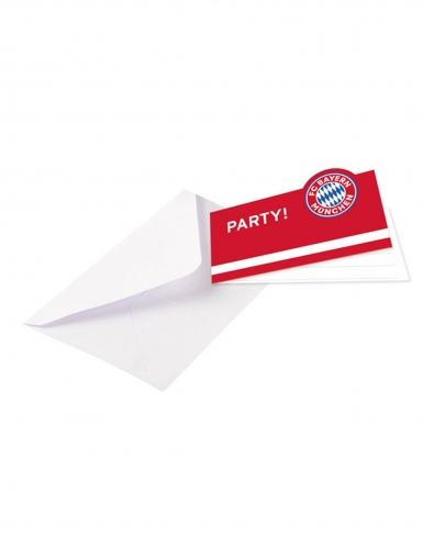 8 Cartes d'invitations avec enveloppes FC Bayern Munich™ 13 x 8 cm