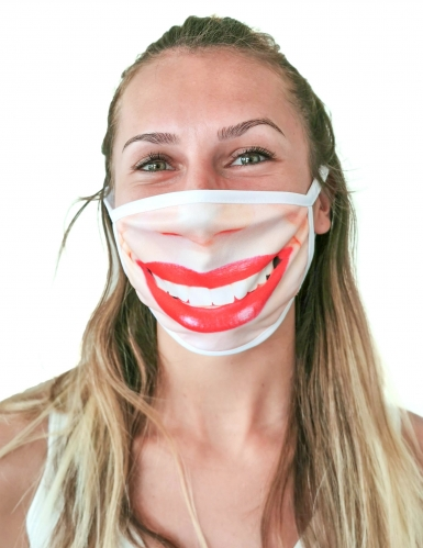 Masque cache nez imprimé rouge à lèvre adulte